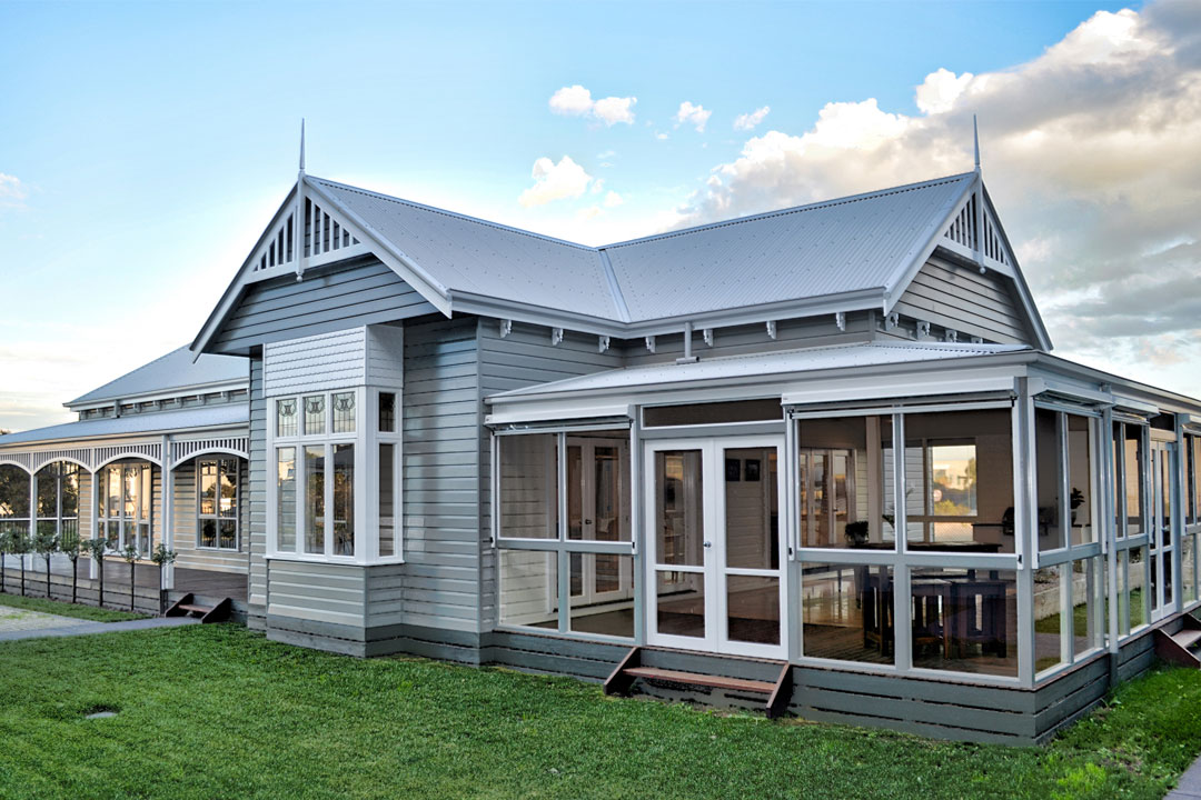 Harkaway Homes heritage-inspired home grey weatherboard
