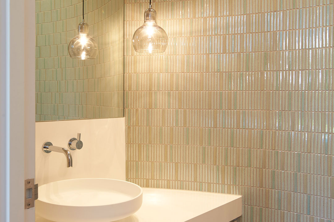 Englehart Homes bathroom with shimmering tiles