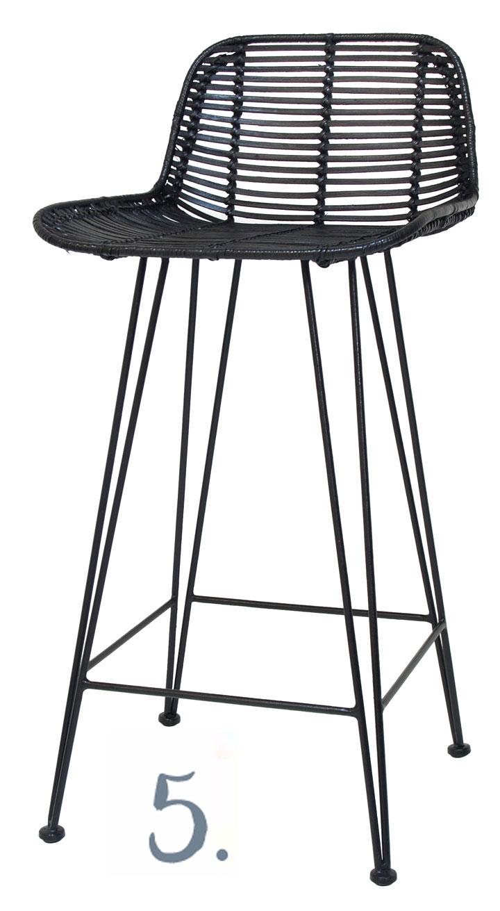 Rattan Bar Stool in Black, RRP $349, www.kiraandkira.bigcartel.com