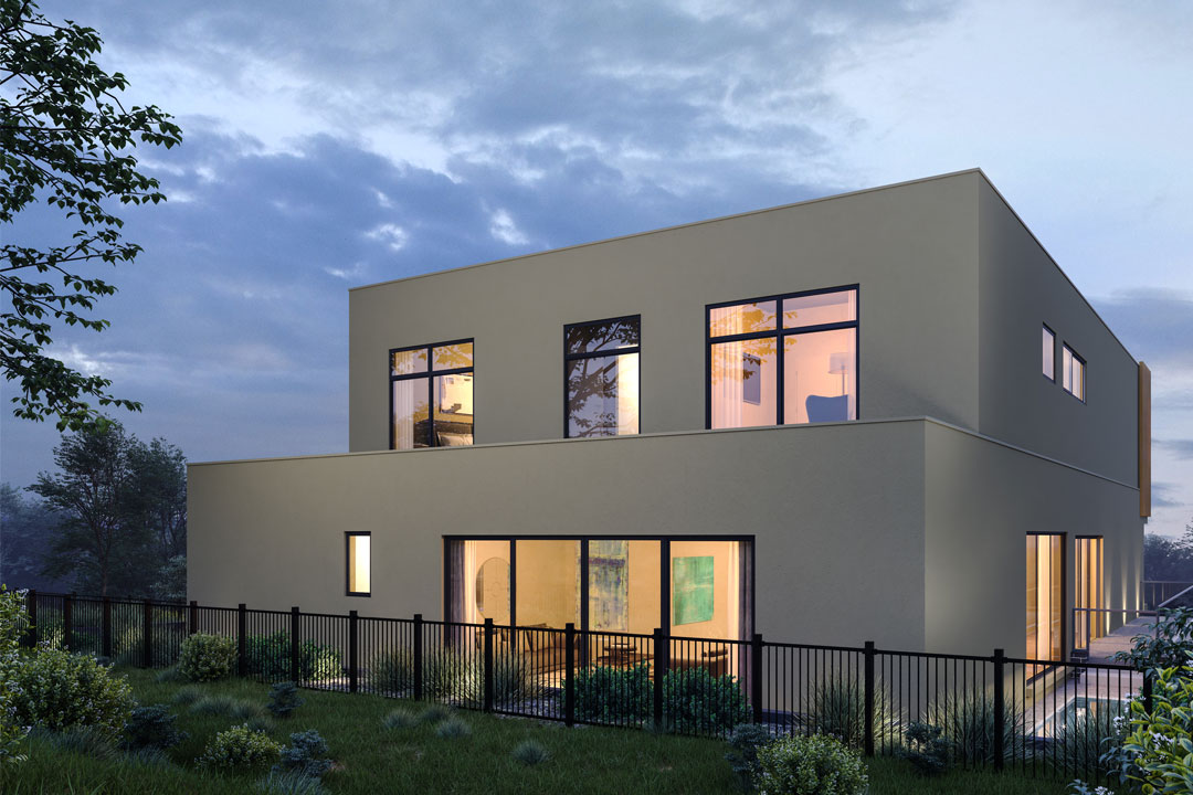 Rex Homes contemporary home with rendered exterior