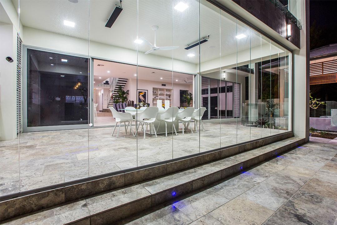Open enclosure glass bifold doors