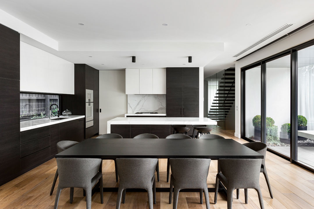 Stonehaven Homes kitchen with black and white colour palette